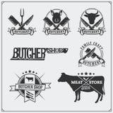 Etiquetas da carne do vetor Logotipos do negócio do ` s do carniceiro Silhuetas de animais de exploração agrícola Fotos de Stock