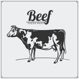 Etiquetas da carne do vetor Logotipos do negócio do ` s do carniceiro Silhuetas de animais de exploração agrícola Fotografia de Stock