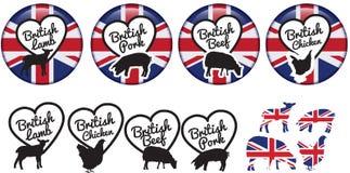 Etiquetas da carne ou crachás ou logotipos britânicos Fotos de Stock