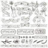 Etiquetas da decoração do ano novo, fitas, rotulando linear ilustração stock