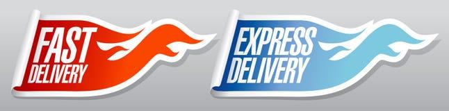 Etiquetas da entrega expressa. Imagens de Stock Royalty Free