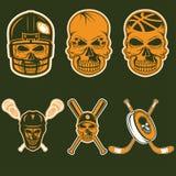 Etiquetas da equipe de esportes com crânio ilustração stock