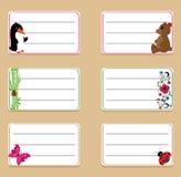 Etiquetas da escola com borboleta e flores Imagem de Stock Royalty Free