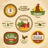 Etiquetas da exploração agrícola do vintage Fotografia de Stock Royalty Free