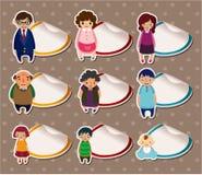 Etiquetas da família dos desenhos animados, etiqueta Foto de Stock