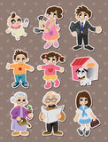 Etiquetas da família dos desenhos animados, etiqueta Fotos de Stock