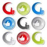 Etiquetas da garantia da satisfação - mão do gesto Fotografia de Stock Royalty Free