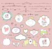 Etiquetas da garatuja, crachás, quadro, beira, elemento da decoração Foto de Stock Royalty Free