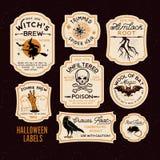 Etiquetas da garrafa de Dia das Bruxas ilustração do vetor