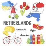 Etiquetas da Holanda Símbolos culturais e da excursão Cartaz com tulipas, queijo holandês, bicicleta, obstruções de madeira e moi ilustração stock