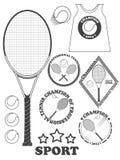 Etiquetas da liga do tênis, emblemas e elementos do projeto Fotografia de Stock Royalty Free
