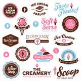 Etiquetas da loja de gelado Imagem de Stock