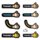 Etiquetas da mão da agitação dos agradecimentos ilustração stock