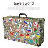Etiquetas da mala de viagem das bandeiras dos países dos cursos imagem de stock royalty free