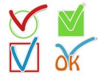 Etiquetas da marca de verificação Fotografia de Stock
