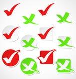 Etiquetas da marca de verificação do vetor Fotografia de Stock Royalty Free