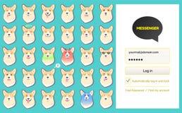 Etiquetas da página e do cão do início de uma sessão da conversa do kakao do mensageiro ilustração stock