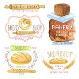 Etiquetas da padaria do vintage Logotipo da aquarela Loja do pão ilustração do vetor
