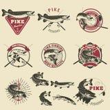 Etiquetas da pesca de Pike Imagens de Stock