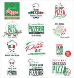 Etiquetas da pizza Fotos de Stock Royalty Free