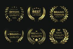 Etiquetas da qualidade do louro Crachá luxuoso dourado, grinalda da folha da venda com texto, elementos garantidos de alta quali ilustração do vetor