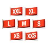 Etiquetas da roupa com tamanhos Fotos de Stock