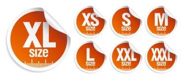 Etiquetas da roupa do tamanho Imagens de Stock