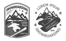 Etiquetas da snowboarding Fotografia de Stock Royalty Free