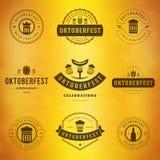Etiquetas da tipografia de Oktoberfest do festival da cerveja Fotografia de Stock Royalty Free