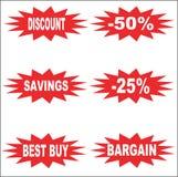 Etiquetas da venda imagens de stock