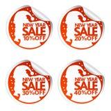 Etiquetas 10,20,30,40 da venda do ano novo com Santa Claus Imagens de Stock