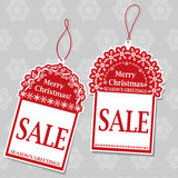 Etiquetas da venda do Natal Fotografia de Stock Royalty Free