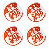 Etiquetas 10,20,30,40 da venda do Natal com caixa de presente Imagem de Stock