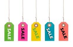 Etiquetas da venda em uma linha fotos de stock royalty free