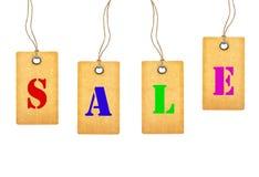 Etiquetas da venda isoladas no branco Imagens de Stock