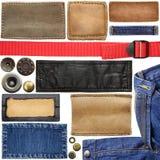 Etiquetas das calças de brim fotos de stock royalty free