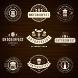 Etiquetas das celebrações de Oktoberfest do festival da cerveja Fotos de Stock