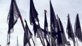 Etiquetas das redes de pesca à pesca no mar filme