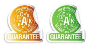 Etiquetas das vitaminas e dos minerais da preservação. Imagem de Stock
