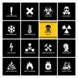 16 etiquetas de advert?ncia com ?cones lisos ilustração stock