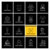16 etiquetas de advert?ncia com linha ?cones ilustração do vetor