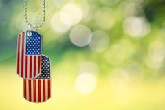 Etiquetas de cão da bandeira americana que penduram fora Imagens de Stock