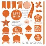 Etiquetas de cuero anaranjadas del elemento en concepto determinado del verano Fotos de archivo libres de regalías