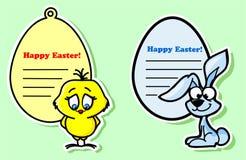 Etiquetas de Easter com a galinha Imagens de Stock Royalty Free