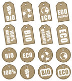 Etiquetas de Eco Fotografía de archivo