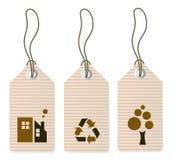 Etiquetas de Eco fijadas aisladas en blanco Imágenes de archivo libres de regalías