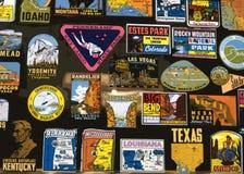 Etiquetas de estados y de lugares de vacaciones Foto de archivo libre de regalías
