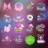 Etiquetas de la belleza y de la atención sanitaria y colección de las insignias