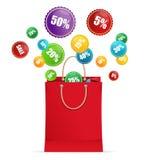 Etiquetas de la bolsa y de la venta de papel del vector Foto de archivo libre de regalías