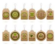 Etiquetas de la cartulina de la ecología Fotografía de archivo